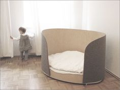 Fubu bed - HabitatKid blog Felt sided bed. I am loving the idea of a felt bassinet, and to be able to upgrade to a felt cot would be awesome. Felt is natural and breathable, and when lanolised is wee/ accident proof