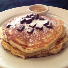 World famous chocolate chip pancakes from Clinton St. Baking on the Lower East Side.