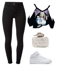 """""""Isn't anyone trying to find me?"""" by hosana-317 ❤ liked on Polyvore featuring J Brand, NIKE and Jimmy Choo"""