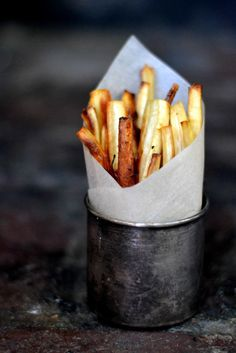 Maple Roasted Parsnip Fries via www.bakeaholicmama.com