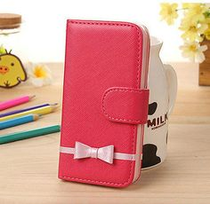 Cute Lovely Girl Sweet Bow Flip Wallet Stand Leather Case Cover for iPhone 5C