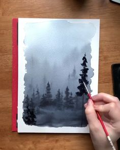 The wet on wet technique is perfect for painting moody watercolor misty forests like this one ✌🏻 You know I love me some wilderness watercolor painting! Check out my Skillshare class for an in-depth tutorial on watercolor misty forest techniques!
