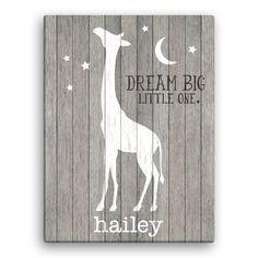 Dream Big Little One Personalized 18x24 Canvas - Room Decor - Kids…
