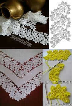 Bico de Crochê Passo a Passo: 45 Modelos + Gráficos e Vídeos Crochet Stitch Step by Step: 45 Models + Graphics & Videos Crochet Edging Patterns, Crochet Lace Edging, Crochet Leaves, Crochet Borders, Doily Patterns, Crochet Trim, Irish Crochet, Crochet Flowers, Crochet Stitches