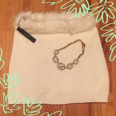 NWT TAHARI INFINITY SCARF BEAUTIFUL. Winter white soft double knit with faux fur. Brand new with tags!!! Tahari Accessories Scarves & Wraps