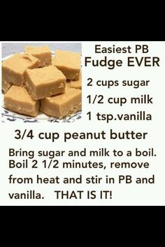 Easy peanut butter fudge....I wonder how well this really turns out - could be good for a single serve sweet tooth attack for my hubby :)