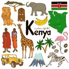 Illustration about Fun colorful sketch collection of Kenya icons, countries alphabet. Illustration of background, color, doodle - 42580212 Geography For Kids, Teaching Geography, World Geography, Cultures Du Monde, World Cultures, Around The World Theme, Countries And Flags, Kenya Travel, World Thinking Day