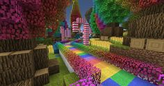minecraft houses rainbow colourful path castle garden underground modern designs blueprints buildings lined candycanes creations projects uploaded