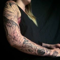 Feathered sleeve in progress by Jeff Gogue