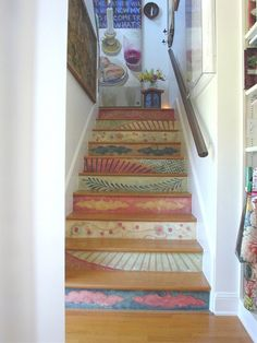 Staircase painted stairs Design Ideas, Pictures, Remodel and Decor Attic Apartment, Attic Rooms, Attic Spaces, Attic Bathroom, Small Spaces, Painted Stair Risers, Painted Staircases, Spiral Staircases, Attic Renovation