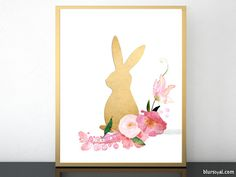 Floral bunny art print in faux gold foil effect.  Faux gold foil bunny and gorgeous watercolor flowers for this easter home decoration.  Easter decor idea