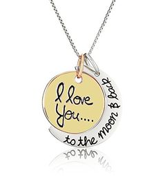Beau Monde I Love You to the Moon and Back Necklace - Best Jewelry Gift for a Girl, Girlfriend, Wife, Mom, Daughter, Kids, Siblings and Best Friend (Two-tone) - Best gift for her, gift for a girl, gift for girlfriend, gift for mom, gift for daughter, gift for son, gift for friend / best friend or special someone in your life.   Great and beautiful necklace with charm perfect for your loved ones. This jewelry is a stylish way of expressing your love on... - http://ehowsupersto