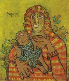 """FRANCIS NEWTON SOUZA (1924-2002)   Mother & Child   signed and dated 'Souza 1961' (upper left); further bearing label 'Gallery One London Artist F. N. Souza Title """"Mother & Child"""" Date 1961' (on the reverse)  oil on canvas   44¼ x 38¼ in. (112.4 x 97.2 cm.)   Painted in 1961   South Asian Modern and Contemporary Art"""