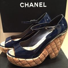 CHANEL shoes The most beautiful navy patent leather quilted platform shoes. Come in original CHANEL Box. Size on the box is 40 but fits American size 9. Almost new prestine condition.  CHANEL Shoes