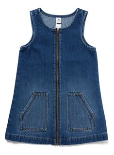 Denim Pinafore Dress from Tu at Sainsbury's ! Your Online Shop for Girl's Dresses & Outfits team outfits Womens, Mens, Kids & Baby Fashion Frocks For Girls, Kids Frocks, Little Girl Dresses, Dress Design Patterns, Baby Dress Patterns, Dress Designs, Girls Frock Design, Baby Dress Design, Style Outfits
