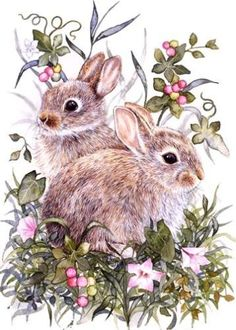 Bunny Art, Cute Bunny, Bunny Painting, Painting & Drawing, Easter Projects, Easter Crafts, Watercolor Illustration, Watercolor Art, Easter Wallpaper