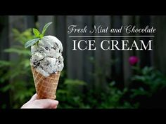 This Fresh Mint and Chocolate Ice Cream recipe uses white and dark chocolates as well as fresh mint instead of mint extract. Just Desserts, Dessert Recipes, Kitchen Vignettes, Mint Extract, Bakers Gonna Bake, Pbs Food, Chocolate Ice Cream, Fresh Mint, Ice Cream Recipes