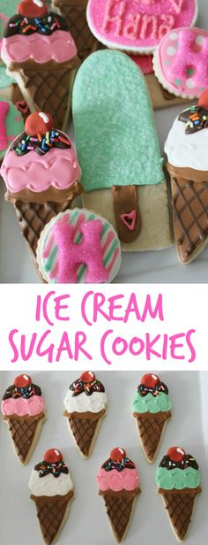 This whimsical set of Ice Cream Decorated Cookies starts with a soft delicious sugar cookie base and theyre decorated with colorful royal icing. These cookies have all the fun of ice cream without any of the melted mess! No Bake Sugar Cookies, Iced Cookies, Cute Cookies, Royal Icing Cookies, Cupcakes, Cupcake Cookies, Cookie Favors, Baby Cookies, Flower Cookies