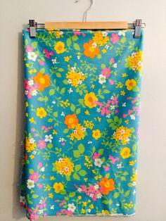 Vintage MOD bright Floral Cotton Fabric