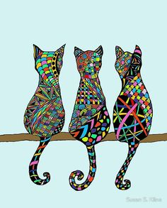 Three Amigos Wall Tapestry by frankiecat Alice In Wonderland Room, Cat Template, African Art Paintings, Black Cat Tattoos, Frida Art, Cat Coloring Page, Feather Painting, Arte Popular, Cat Crafts