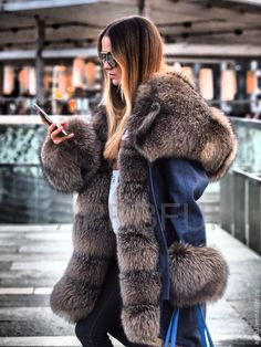 Купить Парка джинсовая из плотного денима с мехом шикарного песца - куртка, куртка женская