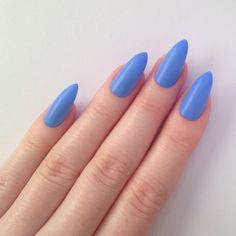 Matte Periwinkle Blue Stiletto nails, Nail designs, Nail art, Nails,... ($17) ❤ liked on Polyvore