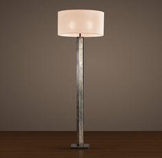 "Hexagonal Column Floor Lamp - Antique Silver Base: 3"" diam., 60""H $495"
