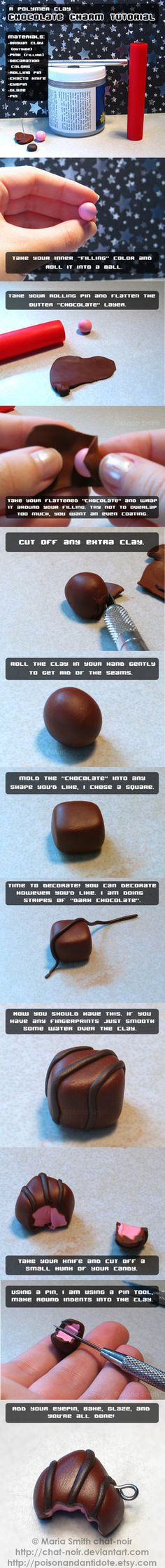 Cute chocolate charm polymer clay tutorial