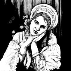 Girl in love - black and white illustration by BienekArt on Etsy
