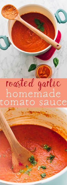 Learn how to make incredibly easy homemade tomato sauce, then use it in everything!! It's taken up an extra notch with the addition of divine homemade garlic. Your kitchen will smell heavenly!