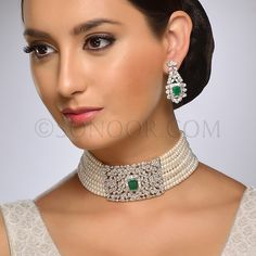 NEC/1/3701Pritha Necklace Set with Earrings (Choker) in silver rhodium finish studded with begets and green jade stringing in fresh water pearls
