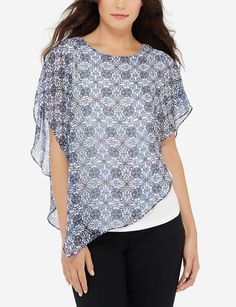 Printed Overlay Poncho Tee | Women's Tops | THE LIMITED