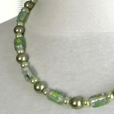 Glass Pearls with Lampwork Beads Silver Findings by marilyn1545, $25.00