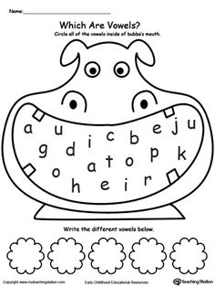 *FREE* Vowels Worksheet. Use this printable worksheet to help children identify which letters of the alphabet are vowels.