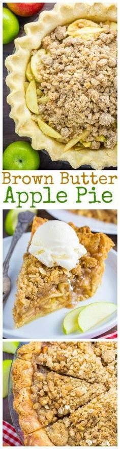 Brown Butter Oatmeal Crumb Apple Pie