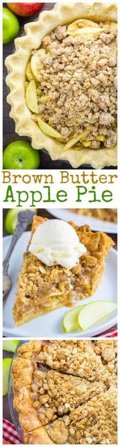 Brown Butter Oatmeal Crumb Apple Pie