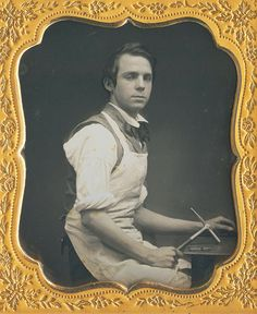 Sixth Plate Daguerreotype, The Youthful Printer, Maker Unknown Circa 1853                                                                                                                                                                                 More