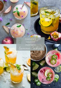 A compilation of creative and refreshing farmer's market inspired summer cocktails highlighting seasonal ingredients from food bloggers around the web.