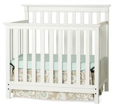 Mini 4-in-1 Convertible Crib with Mattress in Matte White Finish