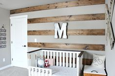 Wood Striped Wall in Toddler Room ***For the main wall***