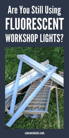 Woodworking Shop Looking for DIY ideas to brighten your dim, poorly lit workshop? Here's why you should replace your old workshop lights with LED shop lights - the difference is like night and day! Garage Workshop Organization, Home Workshop, Workshop Ideas, Workshop Bench, Led Shop Lights, Old Lights, Woodworking Shop Layout, Woodworking Skills, Woodworking Ideas