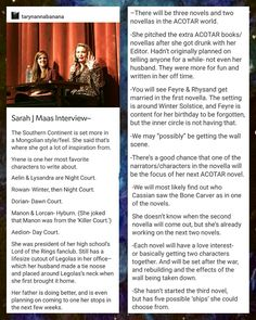 Sarah J Maas interview! Creds in picture.