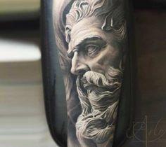 Wonderful black and grey realistic tattoo style of Zeus motive done by artist Arlo DiCristina