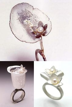 """Carol Meng-Yi Yeh - Pictured, clockwise from top, are her """"lotus,"""" """"blossom"""" and """"water lily"""" rings (all silver with pearls)."""