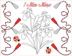 Nicole's Free Coloring Pages: 1 Martie Martisor * Coloring Greeting Cards Wedding Coloring Pages, Spring Coloring Pages, Free Coloring Pages, Coloring Books, 1st Birthdays, 1st Birthday Parties, Mothers Day Crafts For Kids, Santa Letter, Art Wall Kids