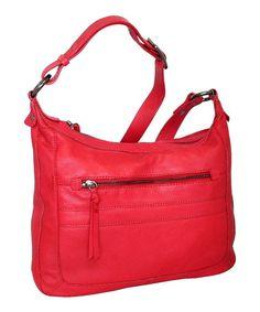 Look what I found on #zulily! Red Slim Sally Leather Crossbody Bag by Nino Bossi Handbags #zulilyfinds