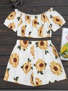 Sunflower Off Shoulder Crop Top Set - White Color Two Piece Short Set, White Two Piece, Cotton Polyester Fabric, Crop Top Set, Two Piece Outfit, Off Shoulder Tops, Short Girls, High Waisted Shorts, Summer Outfits