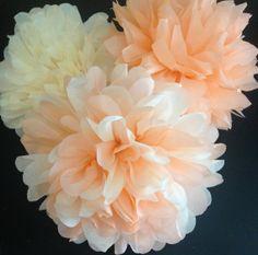 Peach Cobbler - 15 Tissue Paper Poms//  Baby Shower, Birthday, Wedding, Bridal Shower, Nursery Decor on Etsy, $48.99