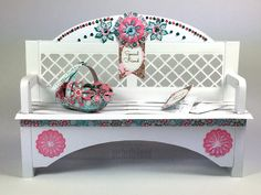 Papercraft Garden Bench - featuring Scrumptious Collections and the Window Box card. Instructions available.