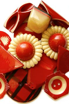 Gorgeous Vintage Celluloid buttons in red, cream and black.